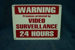 video surveilance metal sign