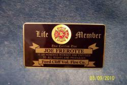 volunteer firefighter life member badge