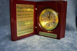 engraved book clock